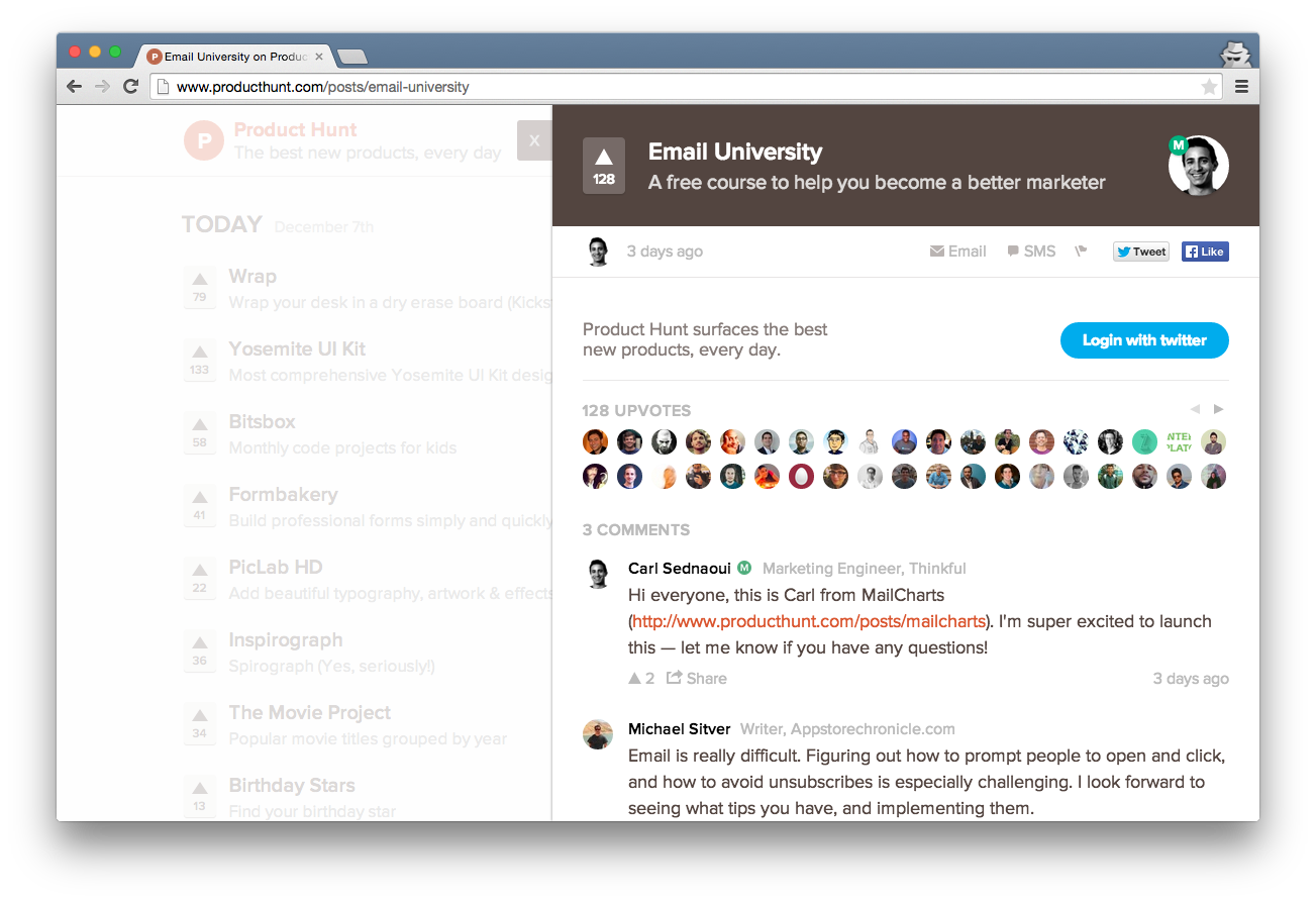 Lesson 1 email university on product hunt
