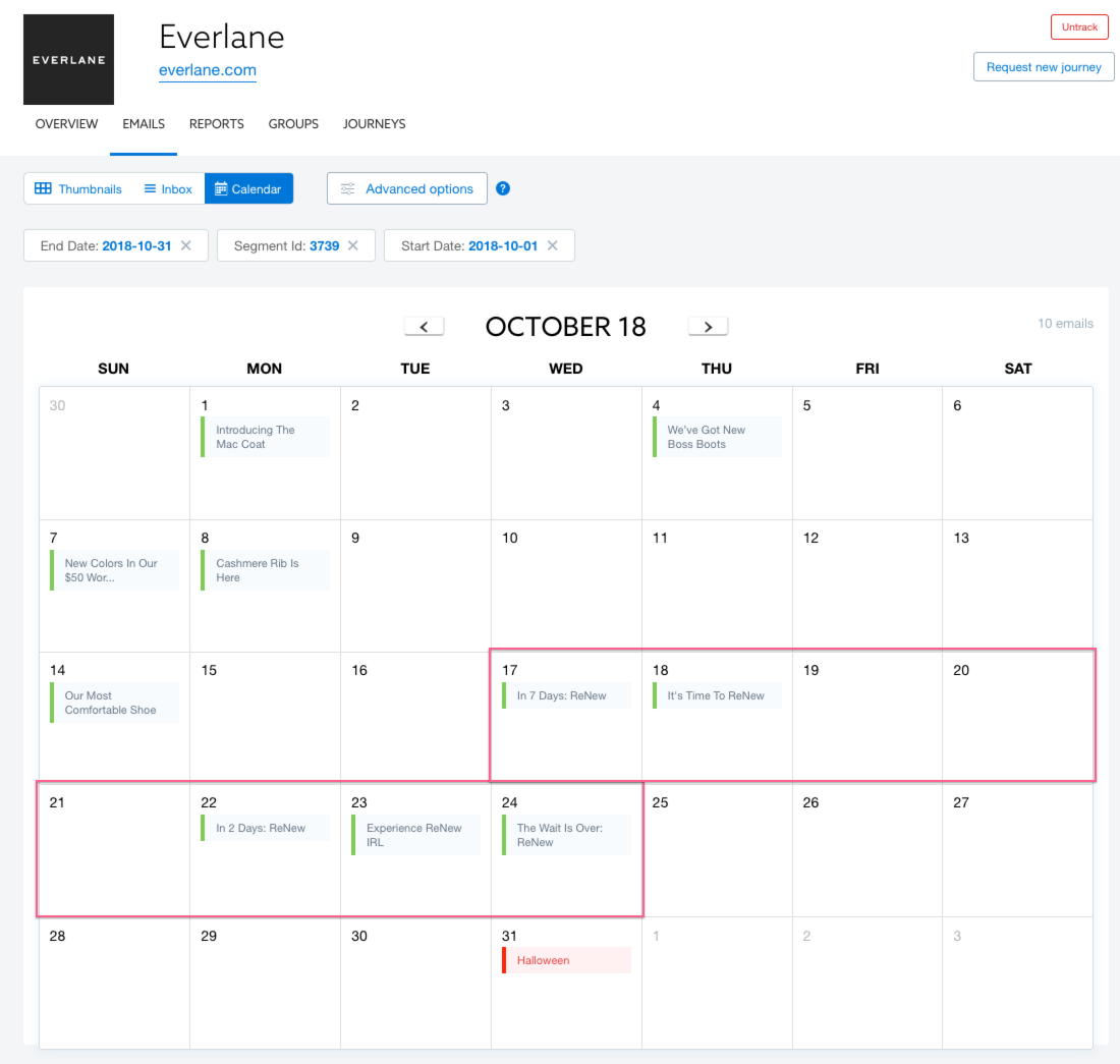 Everlane product launch calendar